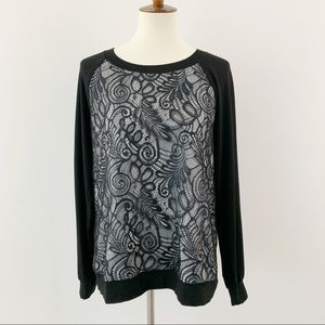 Trina Turk Black Lace Long Sleeve Top